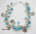 Blue Angel Bead and Charm Bracelet - (30 beads and 13 charms)
